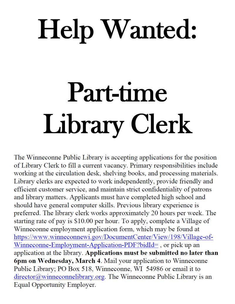 Winneconne Public Library Help Wanted:  Part-Time Library Clerk