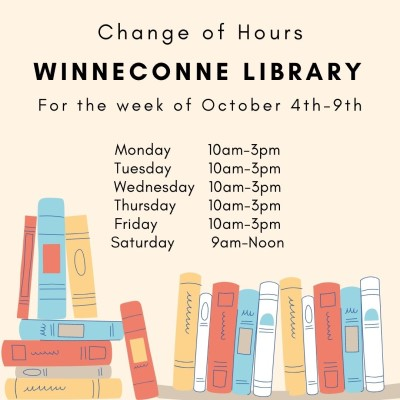 Modifed Library Hours for Week of October 4th - October 8th
