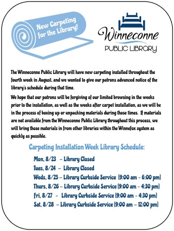 New Carpeting at the Library - Schedule for 8/23-8/28